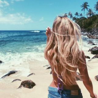 sandy hair and the smell of suncreen.