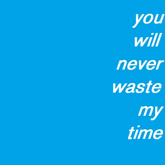you will never waste my time
