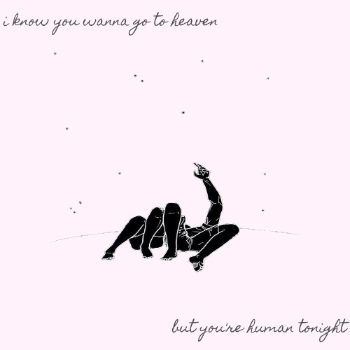 i know you wanna go to heaven, but you're human tonight
