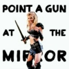 point a gun at the mirror
