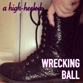 a high-heeled wrecking ball