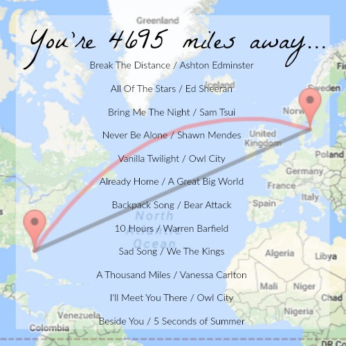 You're 4695 miles away...