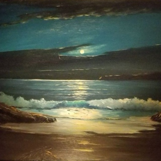 moonlit surf