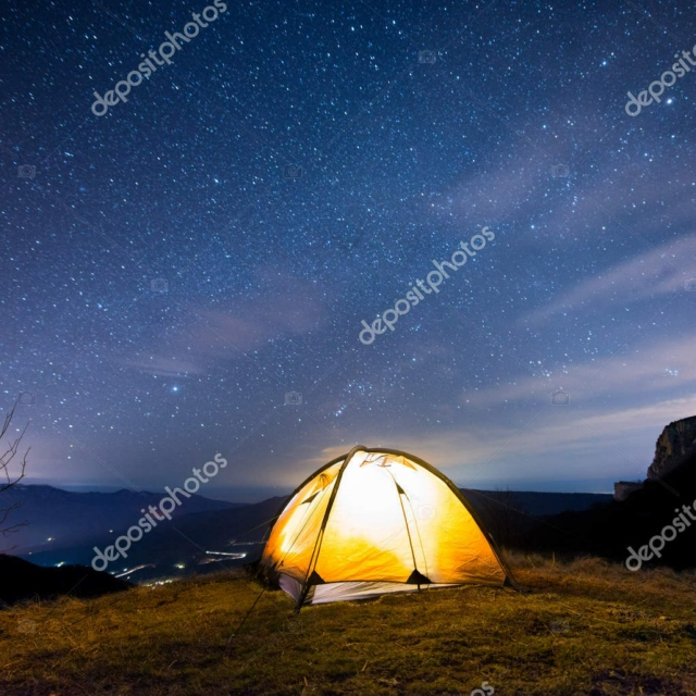 sleeping bag underneath the stars