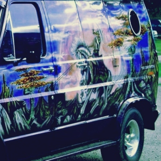 a vehicle with a wizard on it